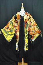 lassic Golden Flower Eastern Sheer Burnout Silk Velvet Fringe Jacket Coat Duste