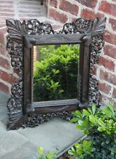 Antique English Oak Highly Carved Square Beveled Wall Mirror Rosette Leaf Frame