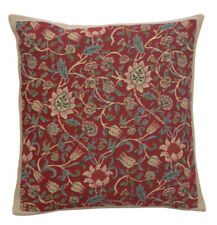 Flowers de William Morris Red Belgian Woven Tapestry Pillow Cushion Cover NEW