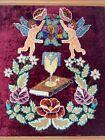 """Vintage Ukrainian Religious Buble PUNCH NEEDLE Tapestry Velvet Chenille? 26x21"""""""