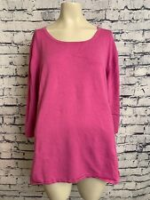 Maggie Barnes Plus Size Top 3X 26 28 Pink 3/4 Sleeve Pullover Sweater Shirt XXXL