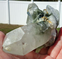 Green Chlorite in Large Clear Quartz Crystal Points Natural Cluster For Sale
