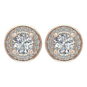 SI1 G 1.30 Ct Round Diamond Designer Halo Solitaire Studs Earrings 14K Rose Gold