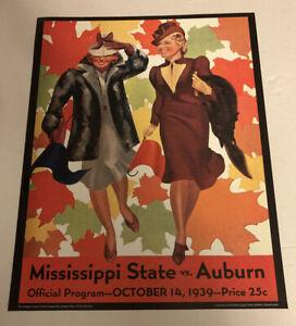 "Auburn Tigers v Mississippi State Football 1939 Program Poster Print 14""x11"""