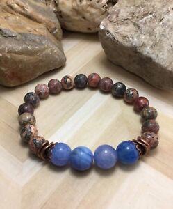 Handmade Healing Leopard Jasper Fire Agate Stone Stretch Bracelet USA