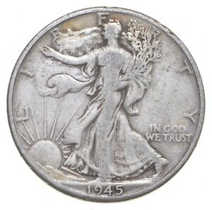 XF+ 1945-D Walking Liberty 90% Silver US Half Dollar - NICE COIN *461