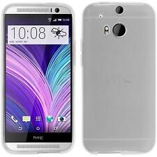 Funda de silicona HTC One M8 transparente - blanco + protector de pantalla