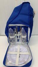 Eddie Bauer Thermal Slingbag Backpack Picnic Set Blue Plates Silverware New