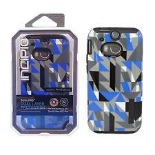 Case for HTC One M8 Incipio Silicone Hybrid Shell Cover Geometric Blue Black