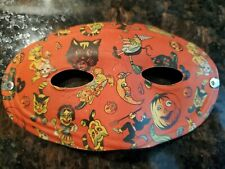 Vintage Cardboard Halloween Mask*Pumpkins, Witches, Moons*Circa 20's or 30's