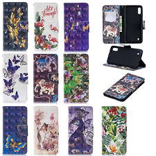 3D Flip Leather Card Stand Case Cover For Samsung S10 M10 M20 Huawei P30 Y7 2019