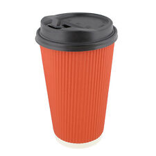 Lot45 Paper Cups with Lids, 100 Pk - 16 oz Coffee Cups with Rippled Sleeve, Red