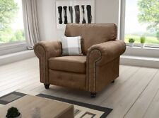 3 & 2 and 1 Seater Sofas Candy / Texas Settee Black or Brown Faux Leather Armchair Brown