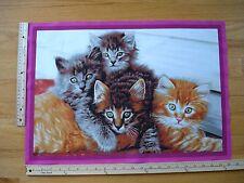 "Kittens Yellows Browns Green Eyes  Cotton Quilt Fabric Block 15 1/2"" x 22 1/2"""