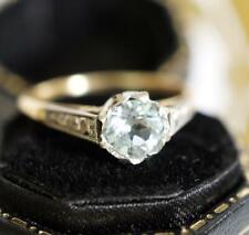 Englischer Art Deco Ring aus 18ct Gelbgold + Platin mit Aquamarin    A1805