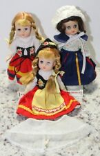 3 Vintage Plastic Ethnic International Dolls Clothes Stands Set