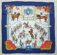 """Rare Authentic HERMES Silk Scarf Real Escuela Andaluza 35""""x35"""" Blue Vintage"""