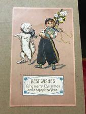 ZA1065 1908 Antique Postcars White Terrier Dancing Dog Boy Flower Christmas