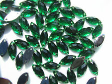 240 Green Acrylic Teardrops Marquise Bead 7x15 mm Rhinestone Gem Flatback Sew on