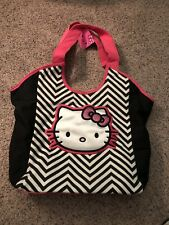 Hello Kitty purse/ tote bag black and white with pink lining zig zag print