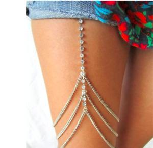 Oberschenkel Kette Rhinestone Crystal Bein Körperschmuck Thigh Chain Bikini Sexy