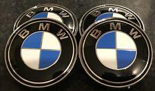 4x BMW Blue Alloy Wheel Hub Centre Caps Badges Set 68mm 1 3 5 6 7 Series X3 X5