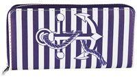 Damen Geldbörse Portemonnaie Geldbeutel großer Anker Marine Leder Blau / Weiß