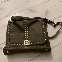 Melie Bianco green leather studded purse crossbody