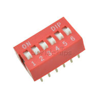 10pcs Red 2.54mm Pitch 6 PositionWay 6-Bit Slide Type DIP Switch Module