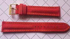 WATCH BAND BRACELET MONTRE TISSU DOUBLÉ CUIR 18mm // ROUGE / Réf.EL22