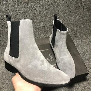 British Mens Suede Leather Pointy Toe Dress Work Ankle Chelsea Boot Casual Shoes