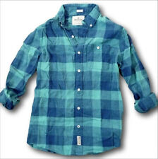 NWT Hollister by Abercrombie Plaid Cotton-Linen Shirt Green Blue White S/M/L/XL