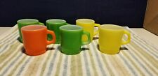 Set of 6 Vintage Fire King Mug Coffee Cups Green Yellow Orange Stackable