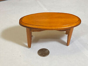 Miniature Dollhouse Furniture Vintage Wood Oval Coffee Table
