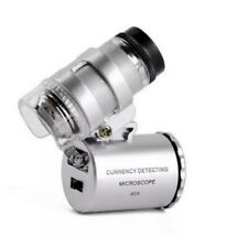 60x Handheld Microscope Loupe Currency Detecting with LED and UV Light Support