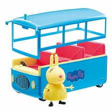 Peppa Pig-Peppa School Bus Playset Inc's Miss Rabbit Figura Nueva