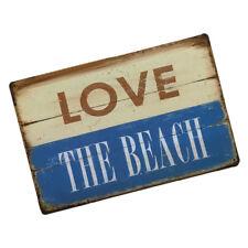 "TIN SIGN ""LOVE THE BEACH "" Metal Decor Wall Art Garage Shop Bar Cave Decor"