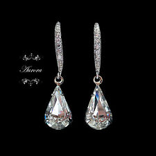 Clear Tear Drop Earrings 925 Silver Made With Swarovski Crystal Elements