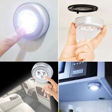 4 STICK ON LED LIGHTS BATTERY Round under shelf lighting MINI SPOT Loft Circular