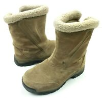 Sorel Water Fall Womens Sz 5 Winter Insulated Boots Tan Suede Zip Up Waterproof