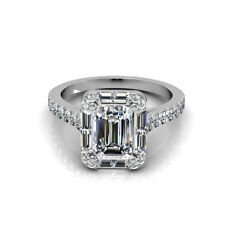 2.25 Carat 18k White Gold Emerald Cut Diamond Engagement Ring GIA Certified