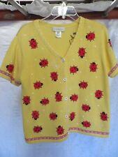 Susan Bristol Yellow Cardigan Short SleeveSweater with Ladybug Appliqués Size L