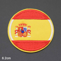 Round Spanish Spain Flag - Iron on Embroidery Patch Sew on Badge - Hat Clothes