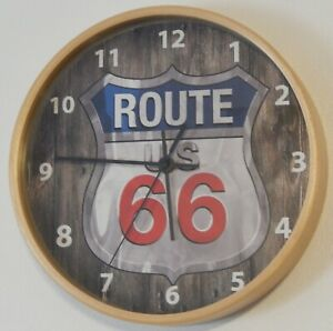 route 66 wall clock 10 inches colors wood,black and white