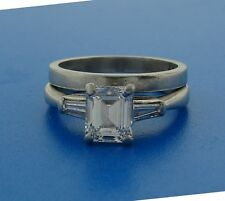 1.02 ct EMERALD CUT DIAMOND H, IF GIA PLATINUM ENGAGEMENT RING WEDDING BAND