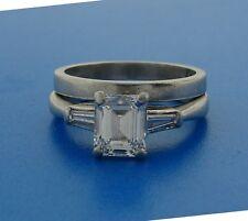 1.02 ct EMERALD CUT DIAMOND H, IF GIA PLATINUM ENGAGEMENT RING WEDDING BAND