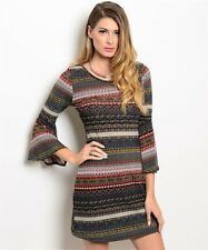 New USA Zouk Boho Gray Multi Color Bell Sleeve Western Sweater Dress M