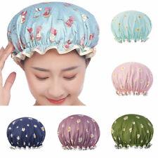 Women Double-Layer Satin Bath Shower Cap Reusable Waterproof Hair Salon Hat