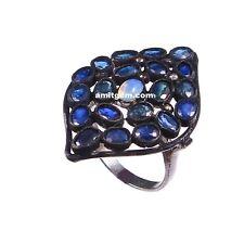 925 Sterling Silver Diamond blue Sapphire Ethiopian Opal Victorian Ring r-632