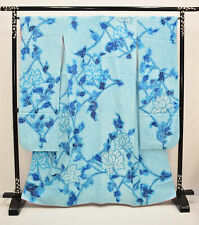 VINTAGE SILK WEDDING FURISODE:Fully Shibori Blue Turquoise Tree Peony@K236